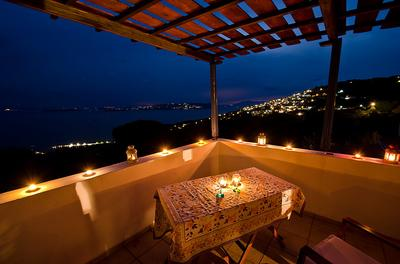 TOP TERRACE VIEW TO SEA AND TWINKLING LIGHTS FROM GLOSSA AND SKIATHOS